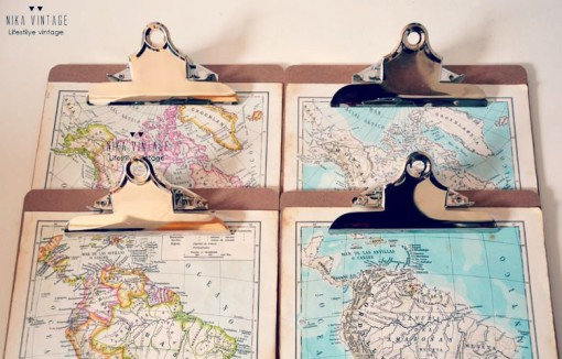 decorando con clipboards y mapas 2